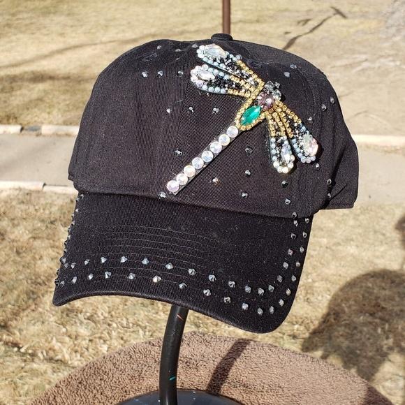 New custom black dragonfly bling hat 85ab2376b863